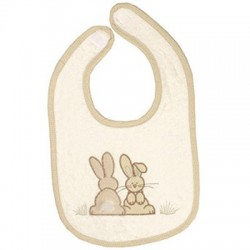 Bavoir brodé collection Pompon le lapin - petit modèle
