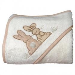 Sortie de bain brodée Pompon le lapin