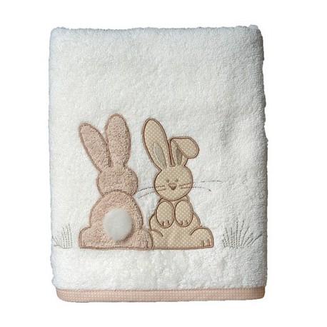 Drap de douche Pompon le lapin