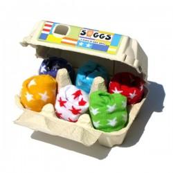 Boîte à oeufs avec 6 paires de chaussettes bébé Etoiles