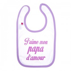 Bavoir J'aime mon papa d'amour violet