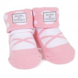 chaussettes ballerine pois rose