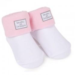 chaussettes blanc rose