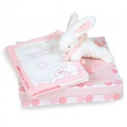Protège carnet de santé rose lapin