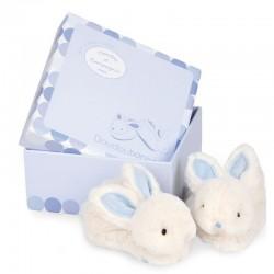 Chaussons bébé lapin hochet bleu