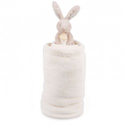Couverture lapin bleu taupe